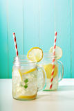 Lemonade in mason jars Royalty Free Stock Images