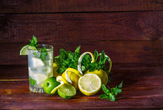 Lemonade with mint and ice Stock Photos