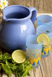 Lemonade with mint and lime Stock Photo