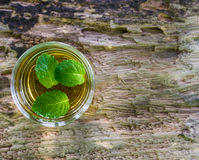 Lemonade with mint on a wood background. Stock Photography