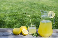 Lemonade with mint on wood. And green background Royalty Free Stock Images