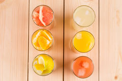 Lemonade orange and grapefruit juice on table. Royalty Free Stock Photography