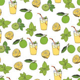 Lemonade pattern. Hand drawing sketch Stock Image