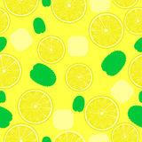 Lemonade pattern. Seamless background for coctails with ice and leaves. Stock Image