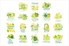Lemonade, 100 percent pure lemon set for label design, hand drawn colorful vector Illustrations. For organic food menu, restaurant and cocktail bar, summer royalty free illustration
