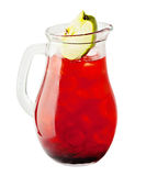 Lemonade Pitcher. Cherry Lemonade Drink with Ice Stock Image