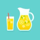 Lemonade pitcher and glass illustration. Royalty Free Stock Image