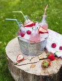 Lemonade with raspberry Royalty Free Stock Photos