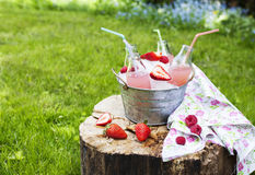 Lemonade with raspberry. Selective focus Royalty Free Stock Photos