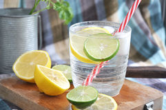 Lemonade with red straw Royalty Free Stock Photos
