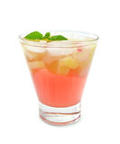 Lemonade with rhubarb and mint in glass Stock Photography