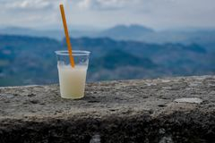 Lemonade on a rocky wall stock photography