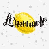 Lemonade Rough Traced  Custom Artistic Handwritten Brush. Lemonade Rough Traced  Custom Artistic Handwritten Brush Calligraphy Design With A Lemon Illustration Stock Photography