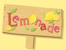 Lemonade Sign Board. Illustration of a wood sign board of lemonade advertising in yellow background Royalty Free Stock Photography