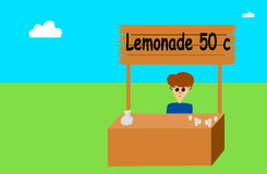 Lemonade Stand. A  file showing a little boy of about 11 trying to sell Royalty Free Stock Photography