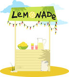 Lemonade stand. Cartoon lemonade stand with fresh lemons and a pitcher, EPS 8 vector illustration, no transparencies stock illustration