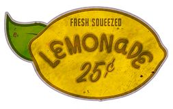 Lemonade Stand Sign Tin Retro Lemon Shape Vintage. Fresh Squeezed home made kids corner street stock image
