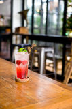 Lemonade strawberry soda water in glass is the drinking for heal Royalty Free Stock Photos