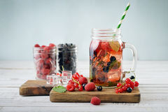 Lemonade with summer berries Royalty Free Stock Image