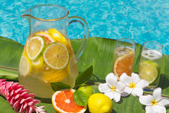 Lemonade by swimming pool side Stock Images