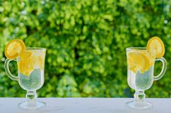 Lemonade water in the glasses on the blurred nature background with copy space on the centre. Summer cold cocktails with lemons. Lemonade water in the glasses on Stock Image