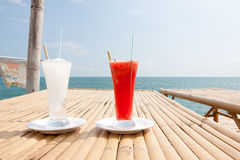 Lemonade and water malon. Lemonade and water malon drink in the sea Royalty Free Stock Photos