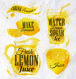 Lemonade watercolor. Pointer drawn pour lemonade lettering with splashes and blots prints bottle, of wine, glass, a corkscrew Royalty Free Stock Photos