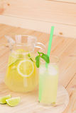 Lemonade on the wooden background Royalty Free Stock Photo