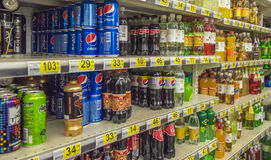 Lemonades on store shelves,. Petersburg, Russia Stock Images