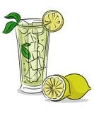 Lemonadexponeringsglas royaltyfri illustrationer