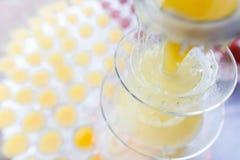 Lemonadspringbrunn med många exponeringsglas arkivbild