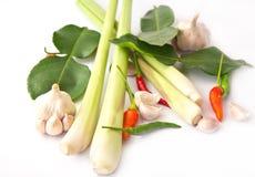 Lemongrass, garlic, pepper isolated, Royalty Free Stock Image