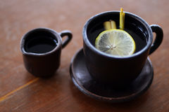 Lemongrass Herb Tea. Even though tea is originated from China, it has become popular in Indonesia. Indonesian love to mix it with the local ingredient such as Royalty Free Stock Images