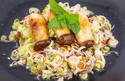 Lemongrass salad with grill mushroom Royalty Free Stock Photography