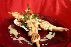 lemongrass scallops протыкальник Стоковая Фотография