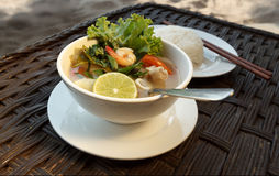 Lemongrass seafood soup with steamed rice Royalty Free Stock Photo