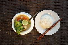 Lemongrass seafood soup with steamed rice Royalty Free Stock Photography