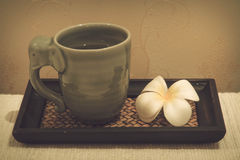 Lemongrass water with Frangipani flower. Stock Photography
