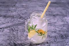 Lemoniada w słoju z lodem i mennica z rocznikiem filtrujemy Zdjęcie Stock