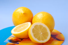 Lemons. Whole and half of  lemons Royalty Free Stock Photos