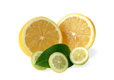 Lemons. And green leaf on white background Royalty Free Stock Photo