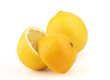 Lemons. Lemon with two halves, isolated on a white background Stock Image