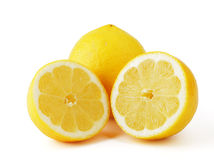 Lemons. Lemon with two halves, isolated on a white background Royalty Free Stock Photography