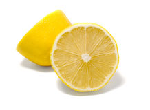 Lemons. Fresh yellow lemons on white background stock image