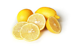 Lemons. Fresh yellow lemons on white background stock photography
