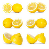 Lemons. Collection of lemons over white background royalty free stock photos