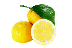 Lemons. Cut lemons on white background with work path Royalty Free Stock Photography