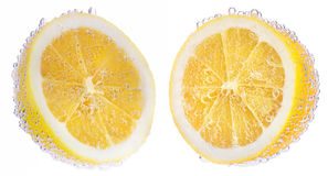 Lemons and air bubbles Royalty Free Stock Photos