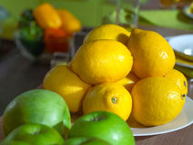 Lemons and apples kitchen still life Royalty Free Stock Image