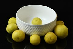 Lemons arranged in white glass cup on black background royalty free stock image
